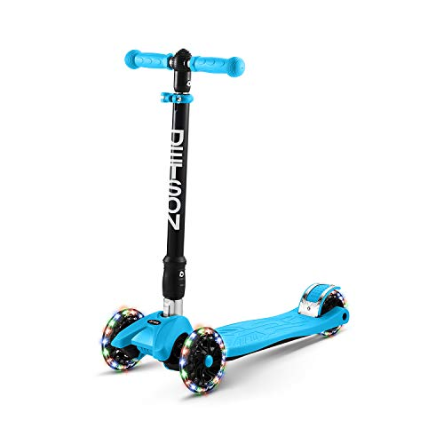 Jetson Twin Folding 3-Wheel Kick Scooter, Blue - Light-Up Wheels, Lean-to-Steer Design and Height Adjustable Handlebar, for Kids Ages 5+