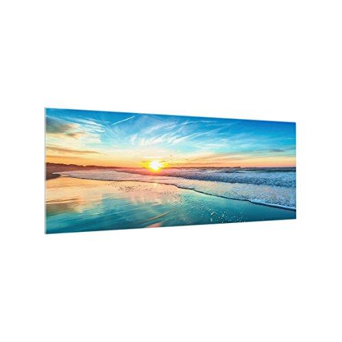 Bilderwelten Paraschizzi in vetro - Romantic Sunset By The Sea - Panoramico,Paraschizzi cucina pannello paraschizzi cucina paraspruzzi per piano cottura pannello per parete, Misura (AxL): 40cm x 100cm