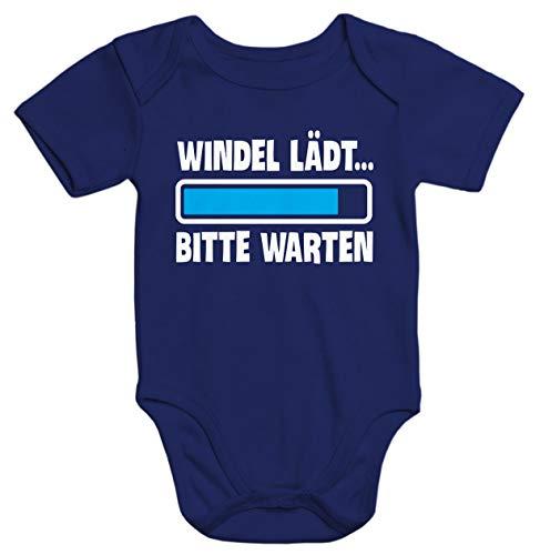MoonWorks® Kurzarm Baby-Body mit Aufdruck Windel lädt Bitte warten Spruch lustig Bio-Baumwolle Navy 3-6 Monate