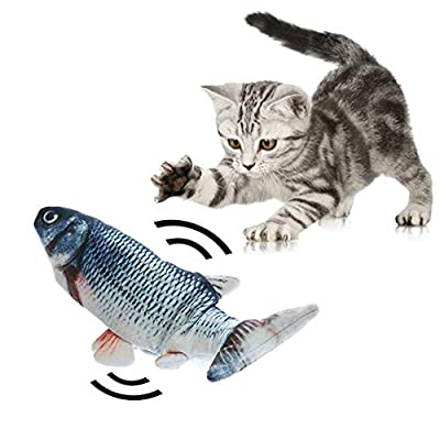 Electric Dancing Fish Cat Catnip Toy, Realistic Moving Cat Kicker Fish, Simulation Plush Fish Shape Toy Doll, Funny Pets Pillow Chew Bite Kick Supplies for Cat/Kitty/Kitten Flopping Fish