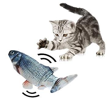 Jouet de cataire de chat de poisson de danse électrique, Poisson en mouvement de chat réaliste, Poupée jouet en forme de poisson en peluche de simulation, Bouchée à mâcher pour oreiller pour chat