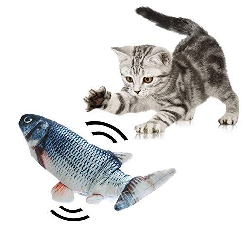 Elektrischer tanzender Fisch Katzenminze Spielzeug, realistische bewegliche Katze Kicker Fisch, Simulation Plüsch Fischform Spielzeug Puppe, lustige Haustier Kissen Kauen Biss für Kitty Flopping Fish
