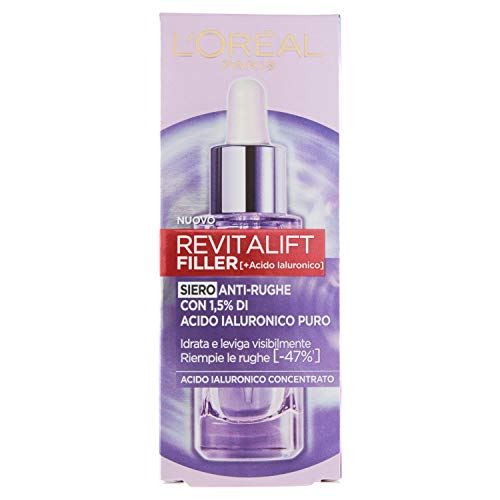 L'Oréal Paris Siero Viso Revitalift Filler in Pipetta, Azione Rimpolpante e Anti-Rughe, Altamente Concentrato con Acido Ialuronico al 1.5%, 30 ml