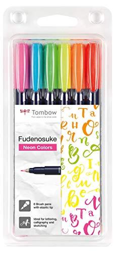 Tombow WS-BH-6P Fudenosuke Neon - Juego de 6 rotuladores de punta dura