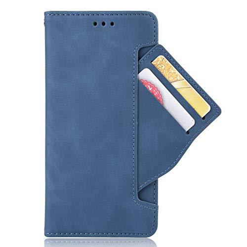 Zl One Compatível com/Substituição para Capa de telefone UMIDIGI A5 Pro Couro PU Proteção Cartão Slots Capa carteira Flip Cover (azul)