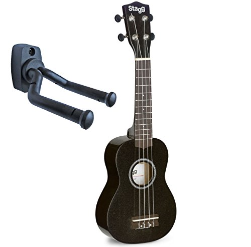 Stagg Ukelele soprano + soporte de pared keepdrum (negro)