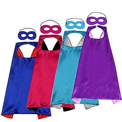 Kids Super Hero Capes and Masks Costume DIY Dress Up Capes for Girls Boys Cloak Bulk-Superhero Birthday Party Favor,4 Pack