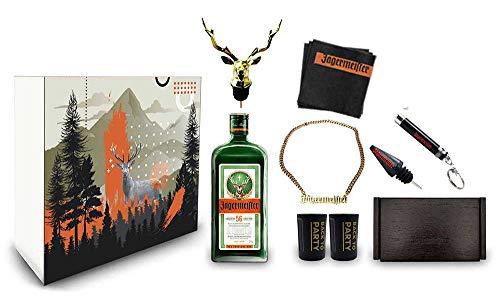 Jägermeister Giftbox Geschenkset - 9teilig mit Jägermeister Kräuterlikör 0,7l 700ml (35% Vol) Bar Drink - [Enthält Sulfite]