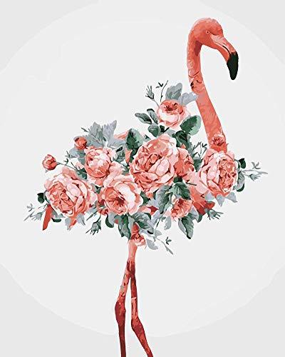 WOWDECOR DIY Malen nach Zahlen für Erwachsene Kinder Mädchen, Flamingos Blume 40x50 cm Vorgedruckt Leinwand-Ölgemälde (ohne Rahmen)