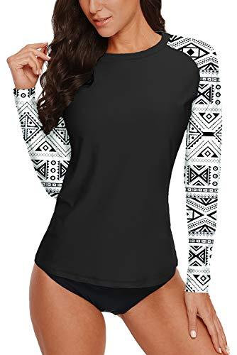 Women's Sun Protection Swim Shirt Long Sleeve Print Aztec Rash Guard Surf Athletic Rashguard Swimsuit Black White Tribal S