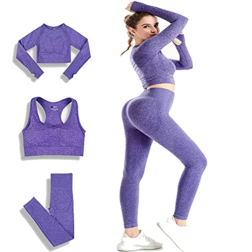 Conjunto Yoga 3 Piezas Ropa Fitness, Pantalones De Yoga Súper Elásticos Sin Costuras+Bralette para Mujer+Camiseta Deportiva De Manga Larga (Púrpura M)