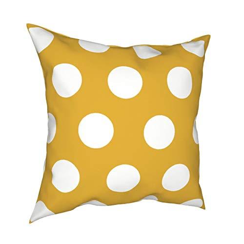 Uliykon Juego de fundas de cojín decorativas con diseño de lunares, color mostaza, suave, cuadradas, fundas de almohada para sofá, dormitorio, coche, con cremallera invisible, 45,7 x 45,7 cm
