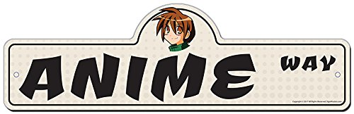 Anime Street Sign   Indoor/Outdoor   Funny Home Décor for Garages, Living Rooms, Bedroom, Offices   SignMission Personalized Gift