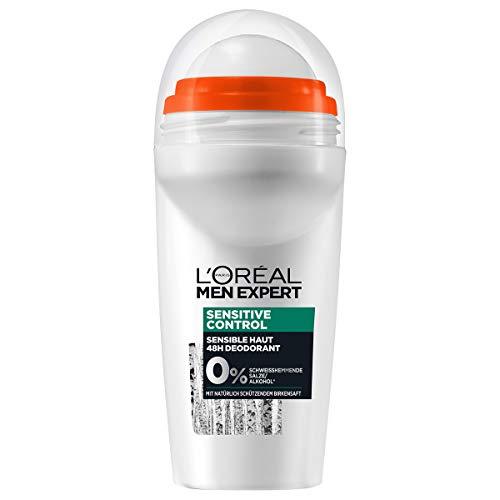 L'Oréal Men Expert Sensitive Control Deodorant, 48H Deo-Roller ohne Aluminiumsalze sorgt für eine vitalisierende, lang anhaltende Frische (6 x 50ml)