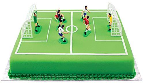 PME FS009 Voetbaltopper voor taarten en cupcakes, 9-delige set, kunststof, meerkleurig, 10 x 4 x 6,3 cm