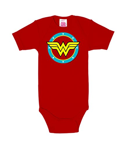 Logoshirt DC Comics - Superhéroe - Wonder Woman - Logo Circulo - Body para bebé - Pelele para bebé - Rojo - Diseño Original con Licencia, Talla 62/68, 3-6 Meses