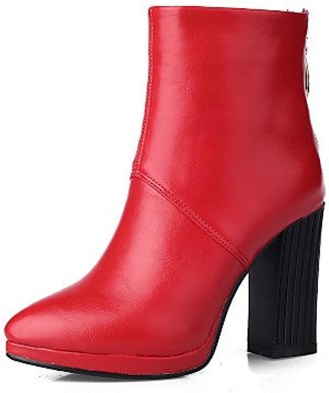 XZZ    Damenschuhe - Stiefel - Büro   Kleid   Lässig - Kunstleder - Blockabsatz - Spitzschuh   Geschlossene Zehe - Schwarz   Braun   Rot   Weiß  f55988