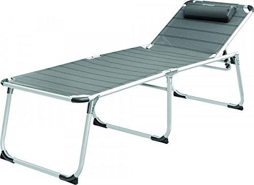 XXL aluminium – outwell – outdoor – kamperen – vrije tijd – driepig ligbed zonder armleuningen met afneembaar hoofdkussen + titanium – in posities verstelbaar – veredelde aluminium buis – stabiele belasting ca. 120 kilo - Exclusief uitvoering - Verdrijf holle producten -