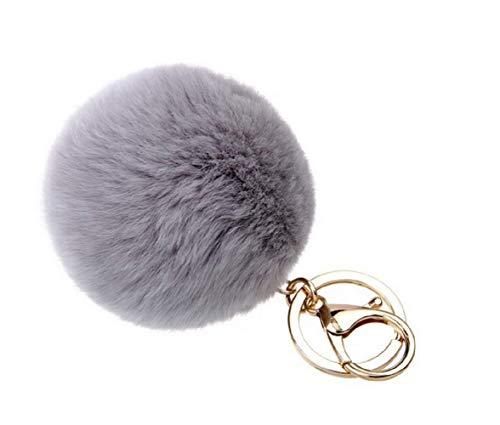 ALMA POM Bommel Schlüsselanhänger Ball aus Kunstfell Accessoires Tasche für Damen grau