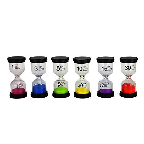 Ensemble de 6 minuteries de sable | Horloges de sablier à code couleur | Aide pédagogique visuelle en classe | Assortiment de sabliers | Pukkr