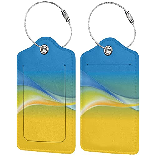 PATINISA Luggage Tag with Privacy Cover,Color Waves Ukrainian Flag Inspired Design in Vibrant Colors Curvy Line,Baggage Labels, Suitcase ID Tags for Travel Suitcases Handbags,(4 pcs)