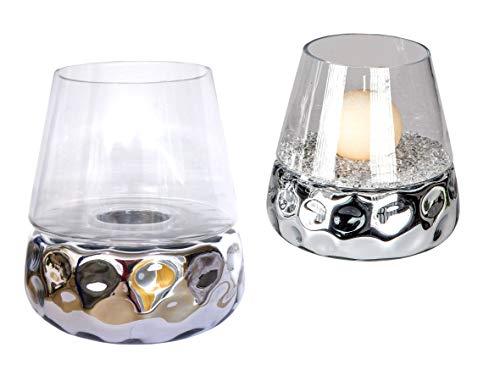 formano Kristallglas Windlicht DOTS konisch rund H. 20cm Silber Glas + Keramik