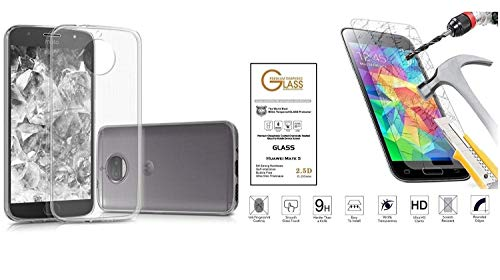 Para Motorola Moto G5Cubierta Cáscara Funda Carcasa Case Slim Gel Silicona Goma TPU blanda transparente + Protector de cristal templado antigolpes Protector de pantalla pantalla Touch Screen antiarañazos 9H