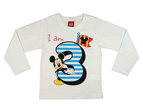 Jungen Baby Kinder 3. erster Geburtstag Langarm T-Shirt 3 Jahre Baumwolle Birthday Outfit GRÖSSE 98 104 Mickey Mouse Disney Weiss Blau Babyshirt Oberteil Hemd Polo Farbe Weiss, Größe 104