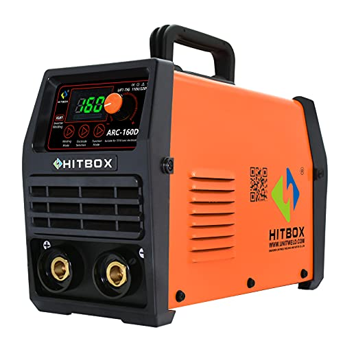 HITBOX Soldador Inverter 160AMP 230V Máquina de soldadura 50M Distancia Soldaduar Dicencion Non Reducir Corrient IGBT Digital Pantalla LCD Hot Start Lift TIG Soldador Electrodos(All Electrodos)