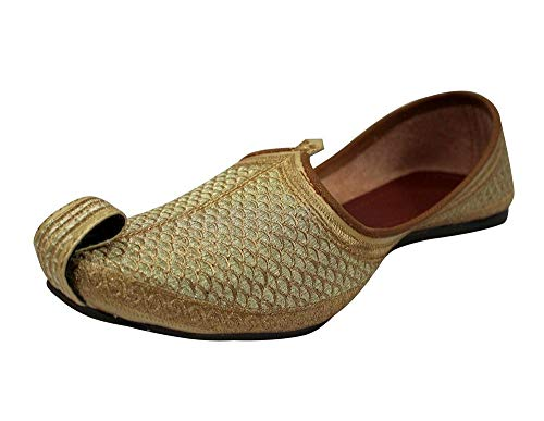 Stop n Style Punjabi Jutti for Mens Gold Khussa Shoes Ethnic Jutti Indian Shoes Wedding Shoes, 8