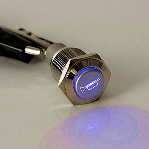 ESUPPORT 12V Car Auto Blue LED Light Momentary Speaker Horn Push Button Metal Toggle Switch 19mm