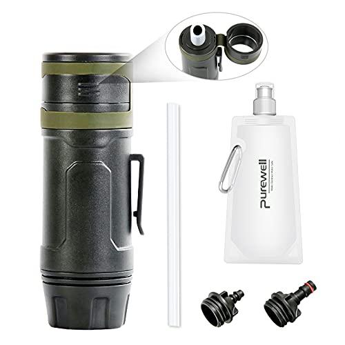 Purewell Filtro de agua para exteriores, filtro de agua personal, paja de emergencia, supervivencia, purificador de agua para camping, senderismo, escalada, mochilero