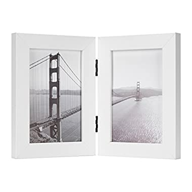 Frametory, 4x6 Inch Hinged Picture Frame with Glass Front - Made to Display Two 4x6 Inch Pictures, Stands Vertically on Desktop or Table Top (4x6 Double, White)