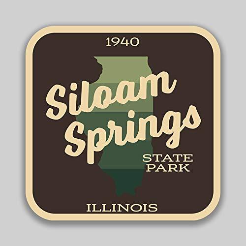 JMM Industries Siloam Springs State Park IllinoisVinilo adhesivo adhesivo para ventana de coche, paquete de 2 unidades de 4 pulgadas por 4 pulgadas laminado protector UV de calidad premium SPS01011