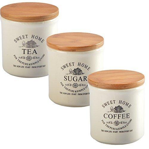 DRULINE Aufbewahrungsdose Keramik Holz Dose Zucker Kaffee Tee Sugar Coffee Tea Shabby (3er Set)