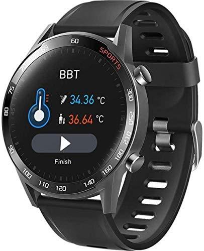 SHIJIAN Pulsera inteligente con medición de la temperatura corporal con pantalla táctil completa con ejercicio saludable, reloj de hombre adecuado para diferentes ocasiones-negro