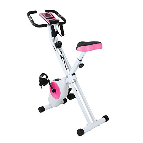 Xspec Indoor Foldable Stationary Upright Exercise Cardio Workout Cycling Bike with 16 Level Resistance & Arm Resistance Bands, Magenta