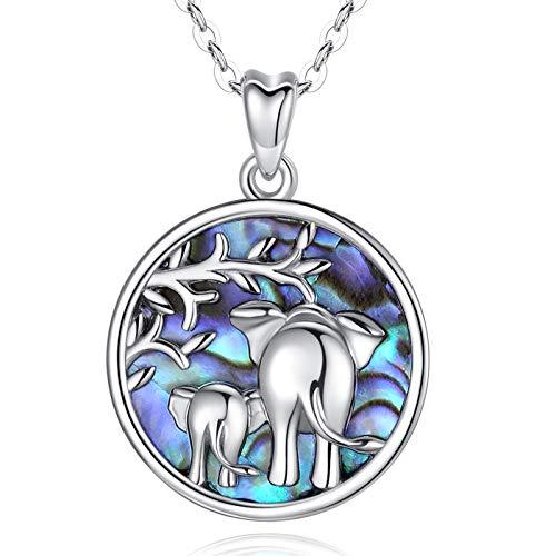 Geschenk für Mama Mutter Tochter Kette AEONSLOVE 925 Sterling Silber Mama Glücklich Elefant Abalone Schale Anhänger Halskette Schmuck Geschenk for Damen