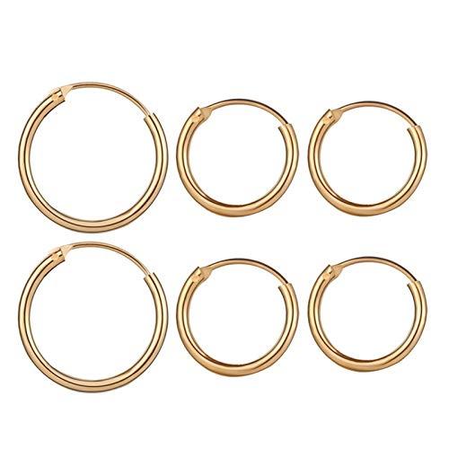 Pendientes de aro de oro rosa vintage con forma de círculo pequeño para mujer, con clip de oreja steampunk (color metálico: dorado)