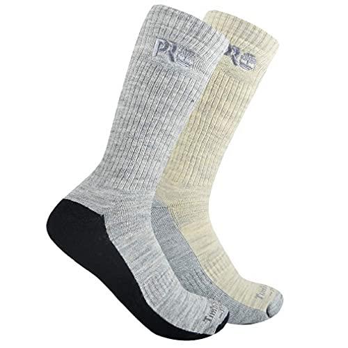 Timberland PRO Herren 2-Pack Comfort Full Cushioned Boot Crew Socks Mannschaftssocken, schwarz/grau, Large