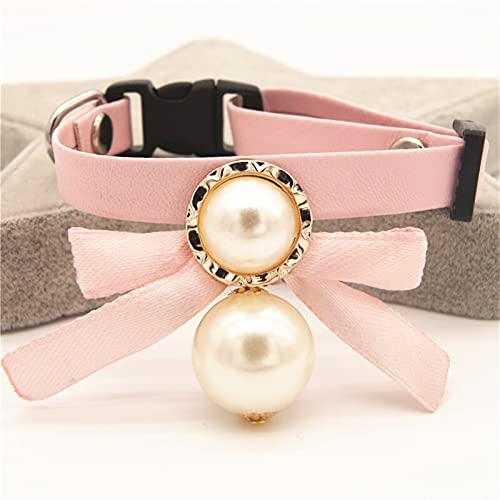 Cuello de cuero de cuero de la hebilla de la correa Bowknot con collares de collar de perlas grandes brillantes for pequeños suministros for mascotas de gato de perro FZHJBLP ( Color : E , Size : E )