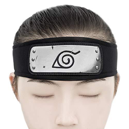 Leichtes Stirnband für Ninja Stirnschutz mit Konohagakure Wappen, PU-Leder Kopfplatte
