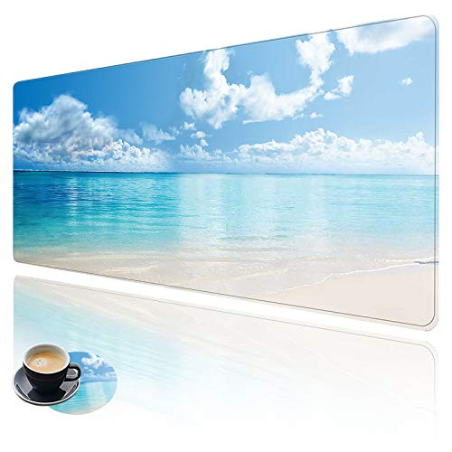 Extended Large Gaming Mouse Pad with Stitched Edges, XXL Mouse Pad Large (31.5x11.8 Inch) w/ Brilliant Design, Desk Mat Keyboard Pad with Anti Slip Base, Multifunctional Desk Pad - Sunny Beach
