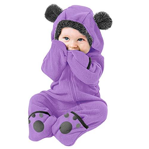 Hui.Hui Vêtements 3-24Mois Bébé Nouveau-né Barboteuse à Manches Longues avec Griffe d'ours Brodée à Capuche La Mode Mignon Body Combinaison Jumpsuit