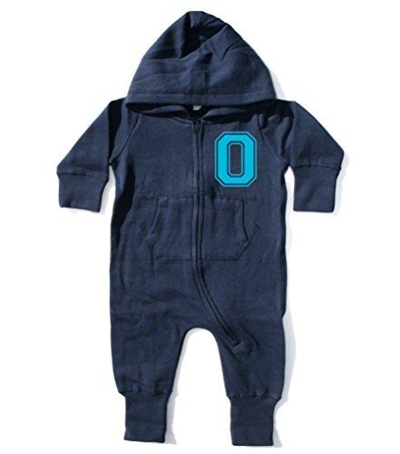 Grenouillère bébé garçon et bébé personnalisé avec nom et Initiale - Bleu - 6-12 mois