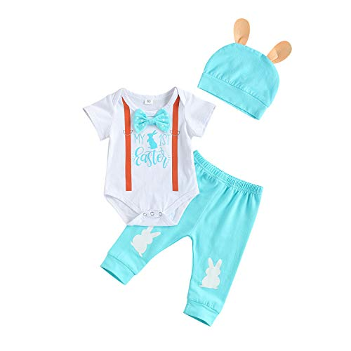 Baby Boy Girl Easter Outfits My 1st Easter Bunny Romper Bodysuit Top Pants Rabbit Ears Hat 3 Piece Clothes Set (Easter Outfits D, 3-6 Months)