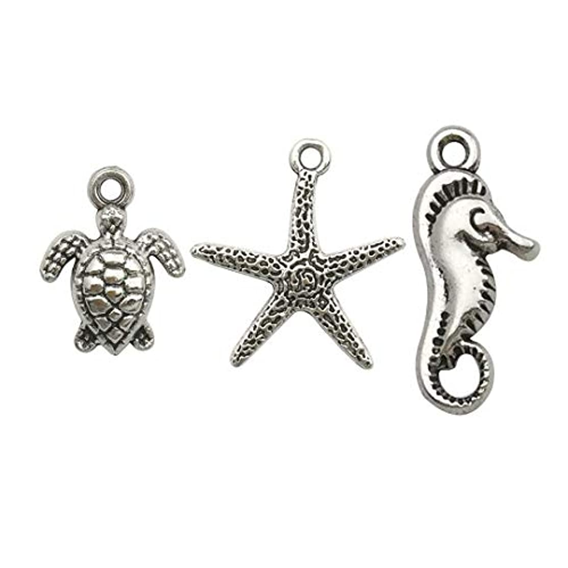 100g (75pcs) Craft Supplies Antique Silver Marine life Animals Turtle starfish Seahorse Charms Pendants for Crafting, Jewelry Findings Making Accessory For DIY Necklace Bracelet (Silver Marine Life)