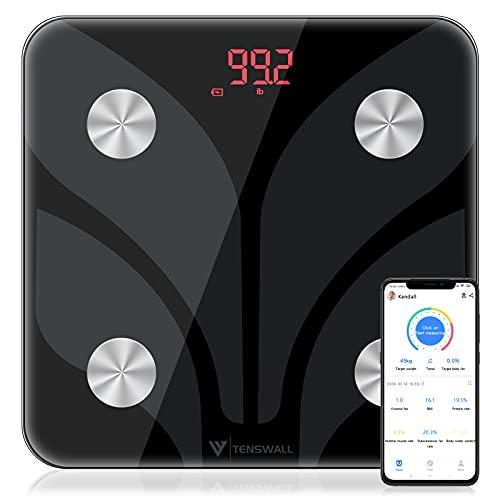 TENSWALL Körperfettwaage, Waage Personen Personenwaage mit App für 15 Körperdaten, Messung von Körperfett, BMI, Muskelmasse, Wasseranteil, Digitale Körperfettwaage, App-Sync via Bluetooth, Schwarz