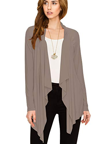 Lock and Love LL Women's Drape Front Open Cardigan Long Sleeve Irregular Hem S-5XL Plus Size Made in USA XXL Taupe