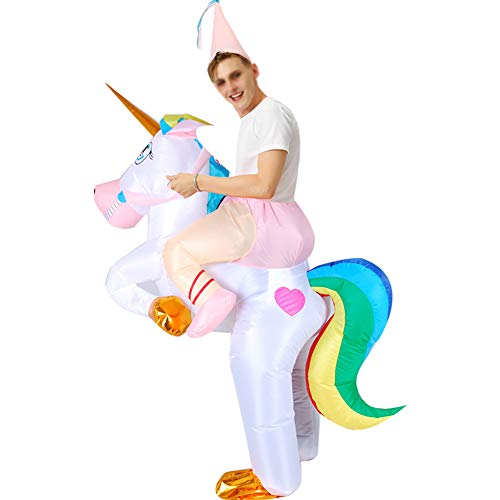 XXLLQ Disfraz Inflable De Unicornio Traje De Cosplay Fiesta para Adulto/Niño Disfraz Hinchable de Halloween Caballo Hinchable Disfraz Unicornio Hinchable Disfraz con Sombrero,Adult